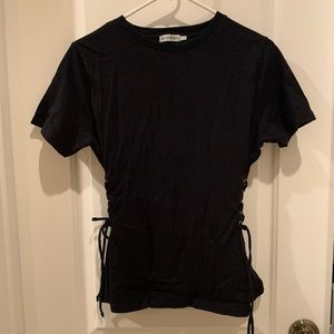 Urban Outfitters Black Lace-up T-shirt